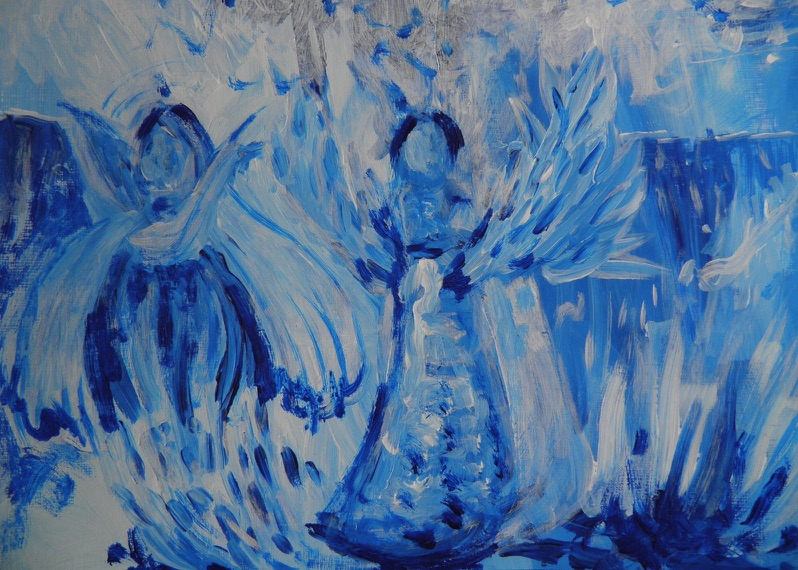 Cerulean Angels, Encaustic Wax
